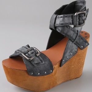 Joes Jeans Leather + Wood Platform Wedge Sandals